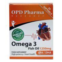 کپسول ژلاتینی امگا 3 روغن ماهی 1250 mg او پی دی فارما